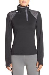 Women's Lole 'Performance' Polished Fleece Half Zip Top Black