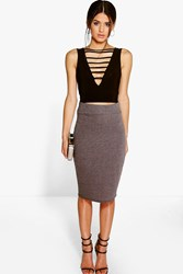 Boohoo Jersey Midi Length Tube Skirt Charcoal