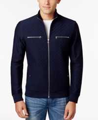 Inc International Concepts Men's Achlis Quilted Knit Jacket Only At Macy's Basic Navy