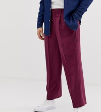 Noak Slim Fit Smart Trousers In Textured Plum Purple