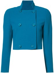 Akris Cropped Double Breasted Jacket Blue