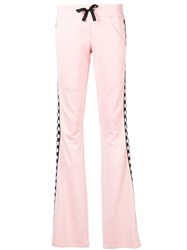 Versus Check Detail Track Trousers Pink And Purple