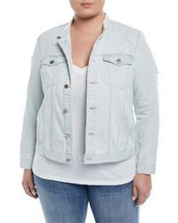 Rachel Roy Collarless Distressed Denim Jacket Blue