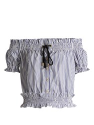 Caroline Constas Off The Shoulder Striped Cotton Oxford Top Blue Stripe