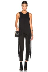 Raquel Allegra Crochet Fringe Tank In Black
