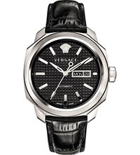 Versace Vqi010015 Dylos Day Stainless Steel And Leather Watch Black