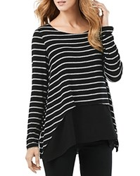 Phase Eight Ciera Layered Stripe Top Black Grey