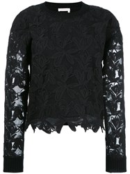 See By Chloe Lace Overlay Sweater Black
