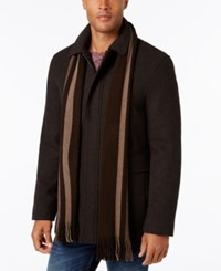 Calvin Klein Men's Long Scarf Car Coat Heritage Brown