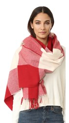 Acne Studios Canada Vichy Scarf Natural White Vermillion Red