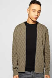 Boohoo Knitted Bomber Full Zip Khaki