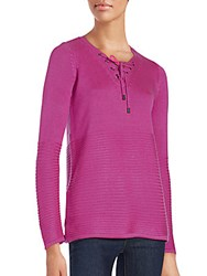 Saks Fifth Avenue Ribbed Lace Up Sweater Exotic Pink