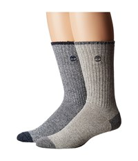 Timberland Marled 2 Pack Crew Socks Navy Grey Men's Crew Cut Socks Shoes Gray