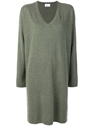 Allude V Neck Knitted Dress Green