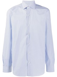 Barba Classic Plain Shirt Blue