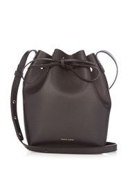Mansur Gavriel Blue Lined Mini Leather Bucket Bag Black Blue