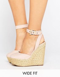 Asos Odell Wide Fit Wedges Nude Beige