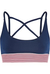 Olympia Activewear Dion Stripe Trimmed Stretch Jersey Sports Bra Midnight Blue