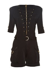 Balmain Lace Up Cargo Pockets Playsuit