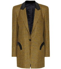 Blaze Milano Timeless Checked Wool Blazer Yellow