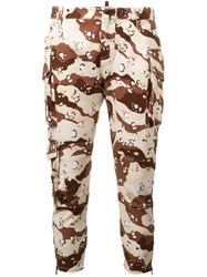 Dsquared2 Cropped Camouflage Trousers Brown