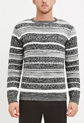 Forever 21 Marled Mix Striped Sweater White Black