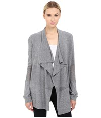 The Kooples Crochet Stitch And Jersey Open Cardigan Grey