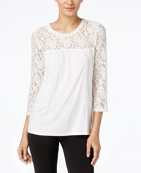 Cable And Gauge Lace Knit Peasant Top Ivory