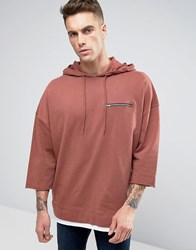 Asos Extreme Oversized Hoodie With Zip Pocket And Distressing Paver Red