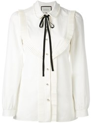 Gucci Pleated Trim Blouse Nude And Neutrals