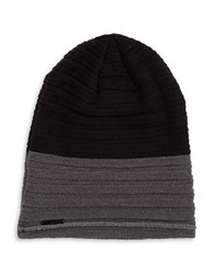 Calvin Klein Colorblocked Knit Beanie Black