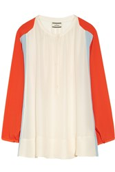 By Malene Birger Fliro Color Block Cupro And Silk Blend Blouse White