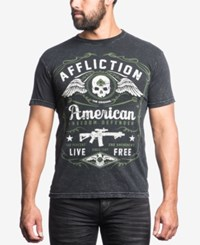 Affliction Men's Defender Graphic Print T Shirt Black Lava Wash