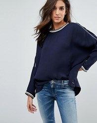 Replay Batwing Top With Sports Tipping Navy Blue