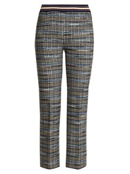 Missoni Slim Leg Checked Wool Blend Knit Cropped Trousers Blue Multi