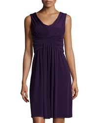 Muse Shirred Sleeveless Fit And Flare Dress Deep Violet
