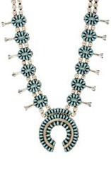Mahnaz Collection Vintage Women's Turquoise Squash Blossom Necklace Co Colorless