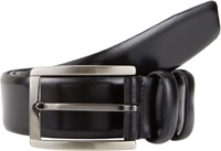 Barneys New York Smooth Leather Double Loop Belt Black