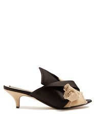 N 21 Kitten Heel Satin And Canvas Mules Black Cream