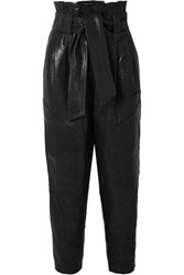 Iro Bahio Belted Leather Tapered Pants Black
