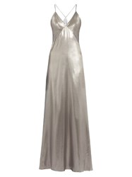 Galvan V Neck Sleeveless Silk Satin Gown Silver