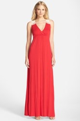 Felicity And Coco Crochet Back Jersey Maxi Dress Red