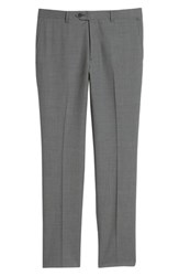 Nordstrom Shop Trim Fit Flat Front Wool Trousers Grey