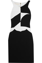 Antonio Berardi Two Tone Wool Crepe Mini Dress Black