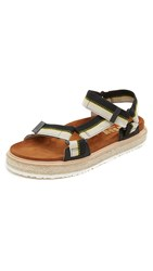Msgm 2 Strap Outdoor Sandals Black Yellow