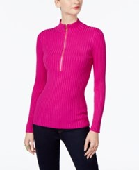 Inc International Concepts Half Zip Sweater Only At Macy's Magenta Flame