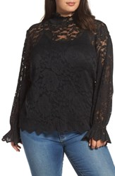 Everleigh Plus Size High Neck Stretch Lace Top Black