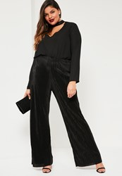 Missguided Plus Size Exclusive Black Pleated Wide Leg Trousers