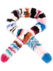 Charlotte Simone Striped Fox Fur Scarf Multicolour