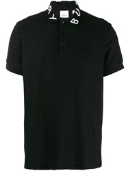 Burberry Logo Collar Polo Shirt Black